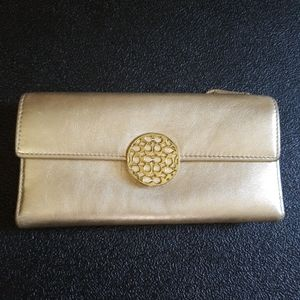 COACH Alexandra Gold Leather Bi-Fold Wallet
